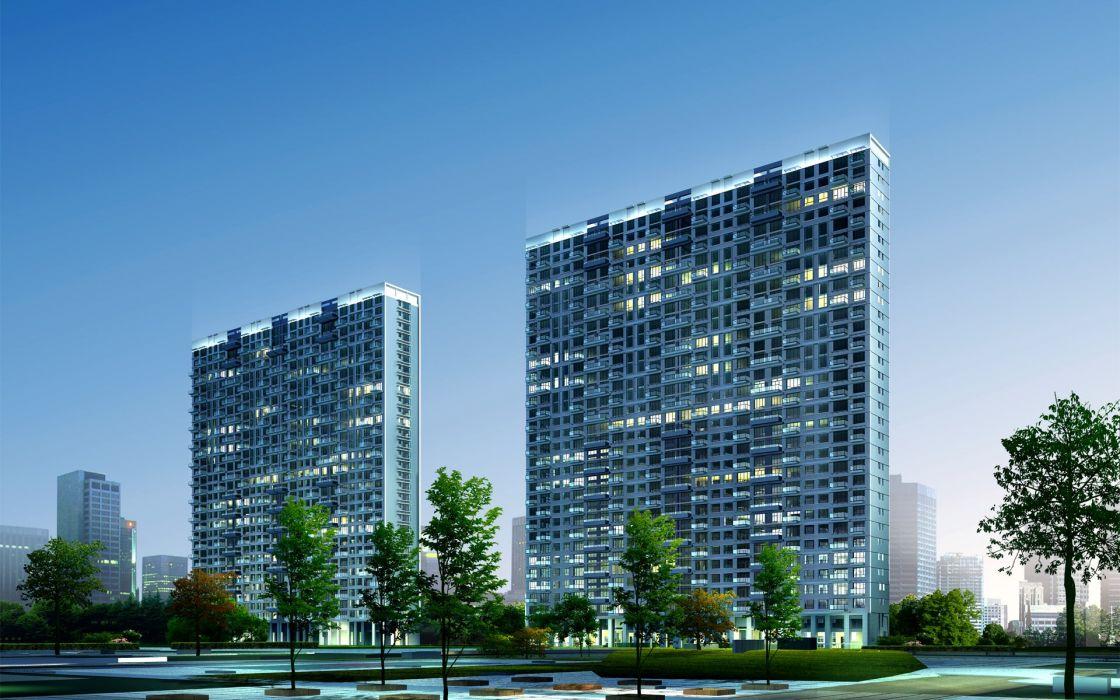 3D view landscapes architecture buildings towns cities wallpaper