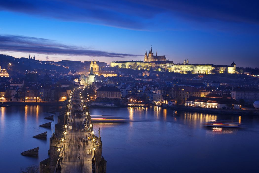 czech republic prague castle charles bridge night lights bridge river  wallpaper