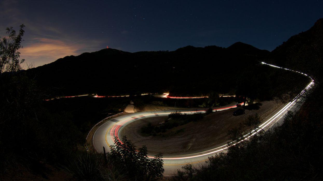 mullholland canyon road night malibu california  wallpaper