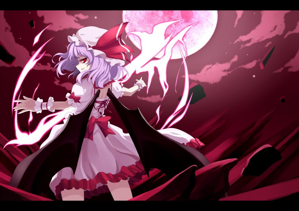 Touhou wings dress night Moon purple hair short hair hats Remilia Scarlet anime girls vampire wallpaper