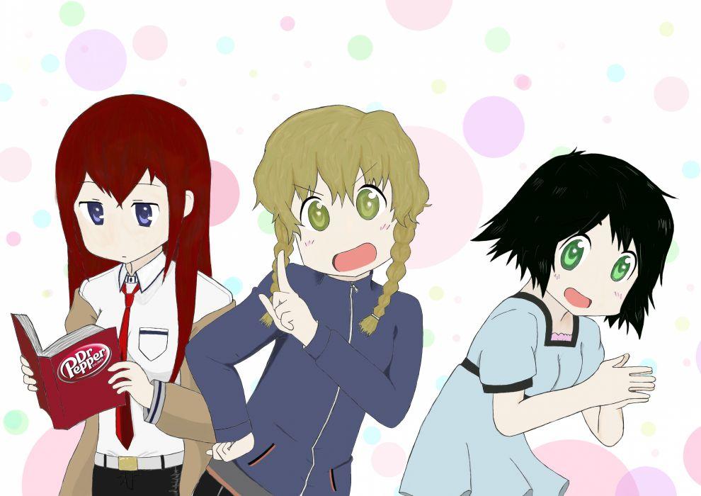 parody Nichijou Steins;Gate Shiina Mayuri Makise Kurisu Amane Suzuha crossovers wallpaper