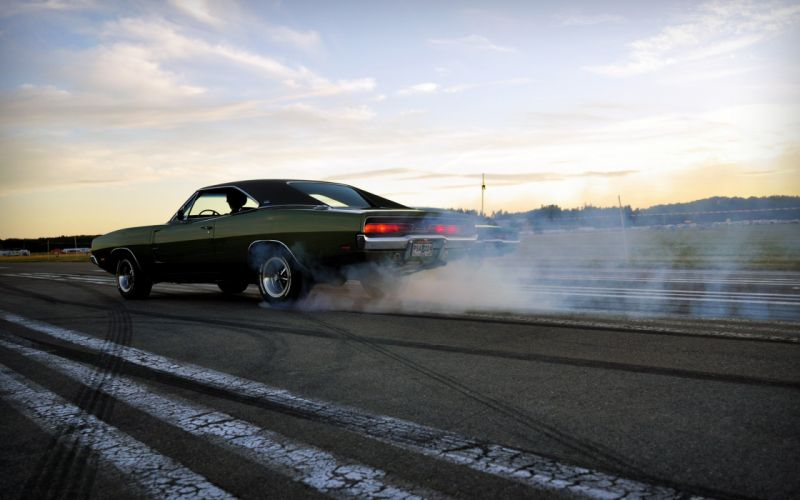smoke muscle cars drifting cars vehicles burnout Dodge Charger wallpaper