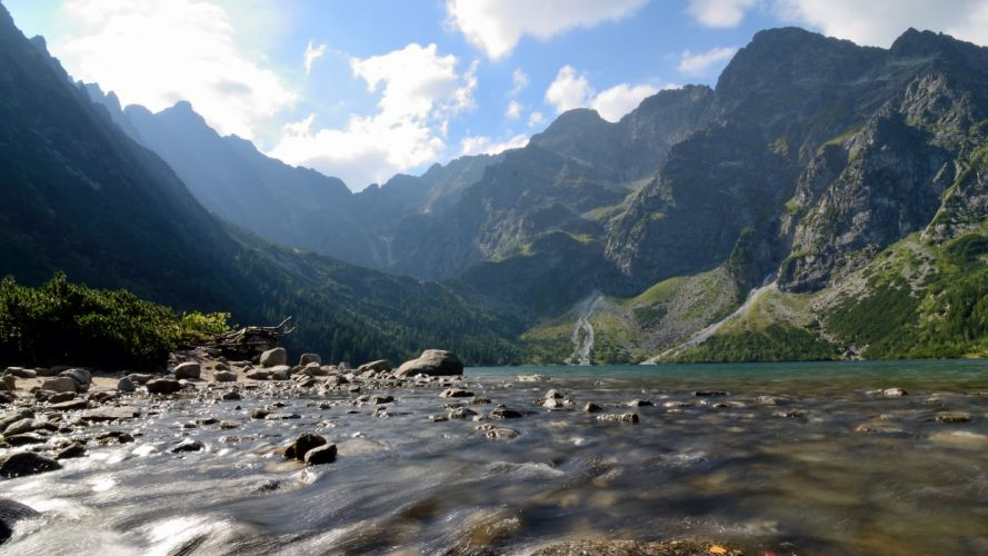 water mountains landscapes nature Poland flowing wallpaper