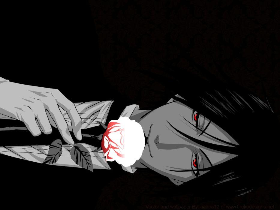 brunettes flowers suit Kuroshitsuji Sebastian Michaelis red eyes anime selective coloring wallpaper