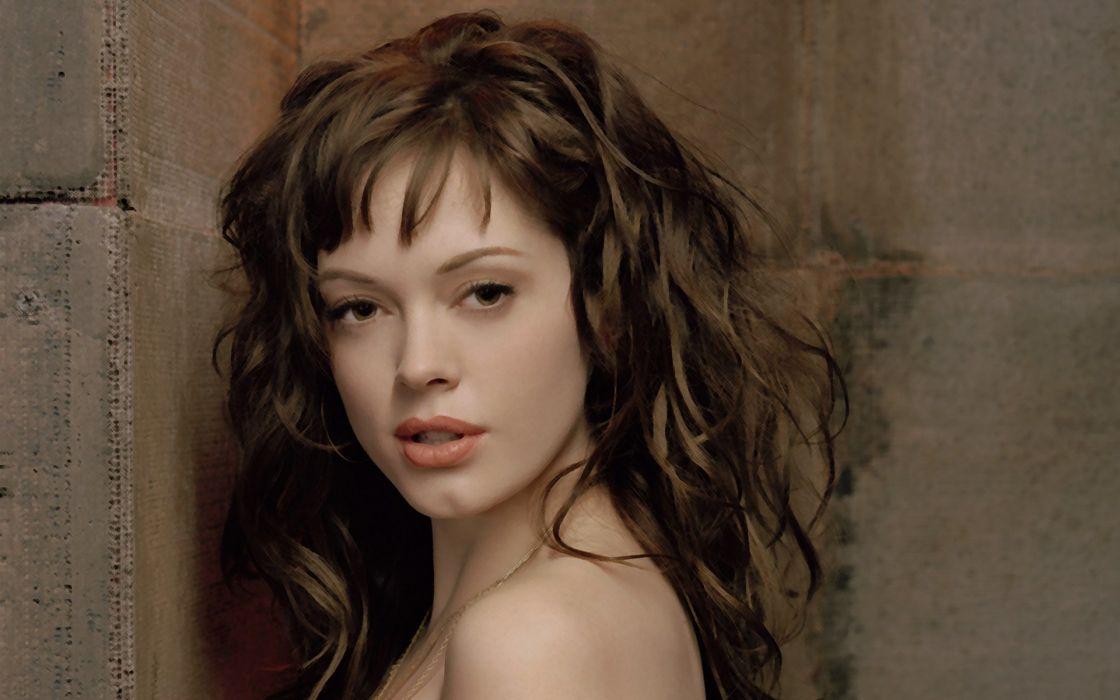 brunettes women Rose Mcgowan faces wallpaper