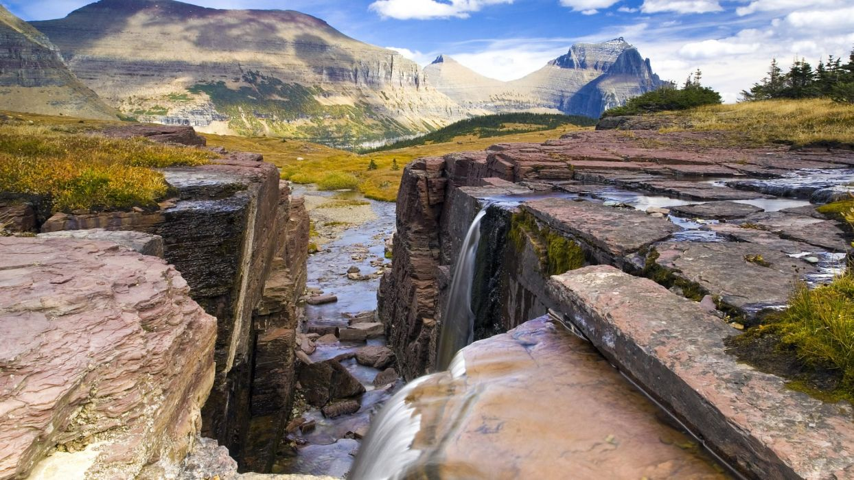 landscapes falls waterfalls National Park Montana Glacier National Park wallpaper