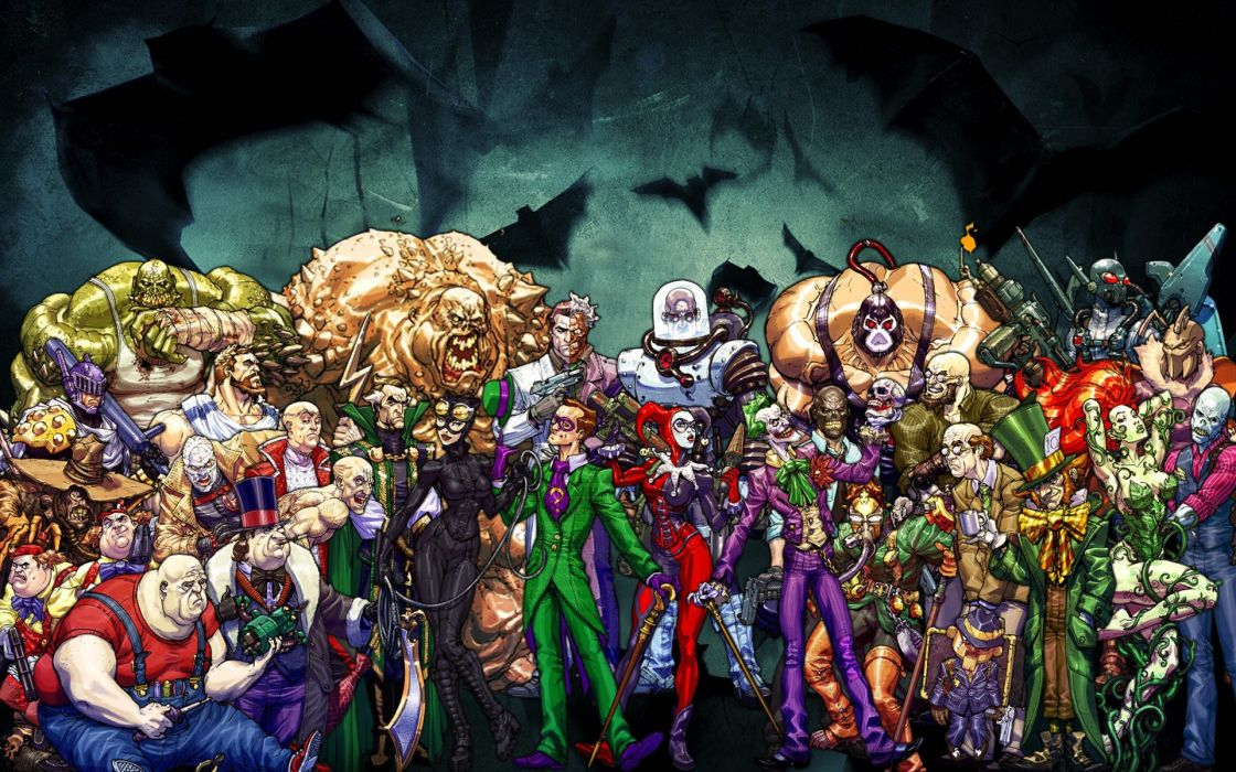 Batman DC Comics The Joker Harley Quinn Catwoman scarecrow Poison Ivy villains Bane The Riddler The Penguin comic books wallpaper
