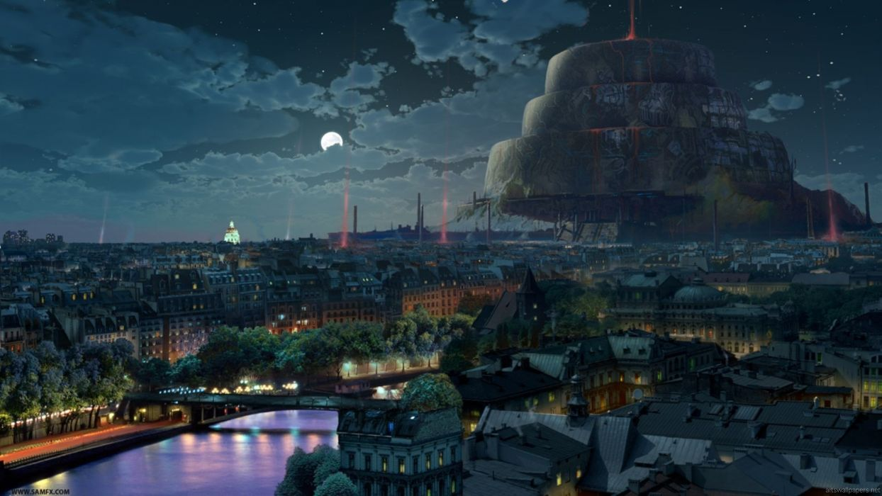 paintings cityscapes science fiction artwork night landscapes wallpaper