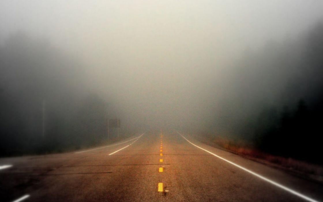 fog roads wallpaper