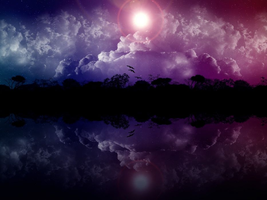 clouds landscapes trees stars birds falling down skyscapes reflections photo manipulation wallpaper