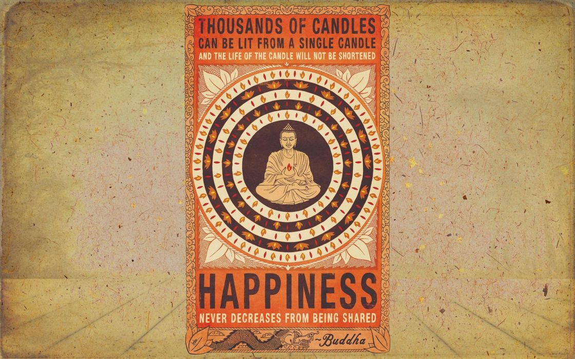 Religion Buddha Happiness Candles Wallpaper