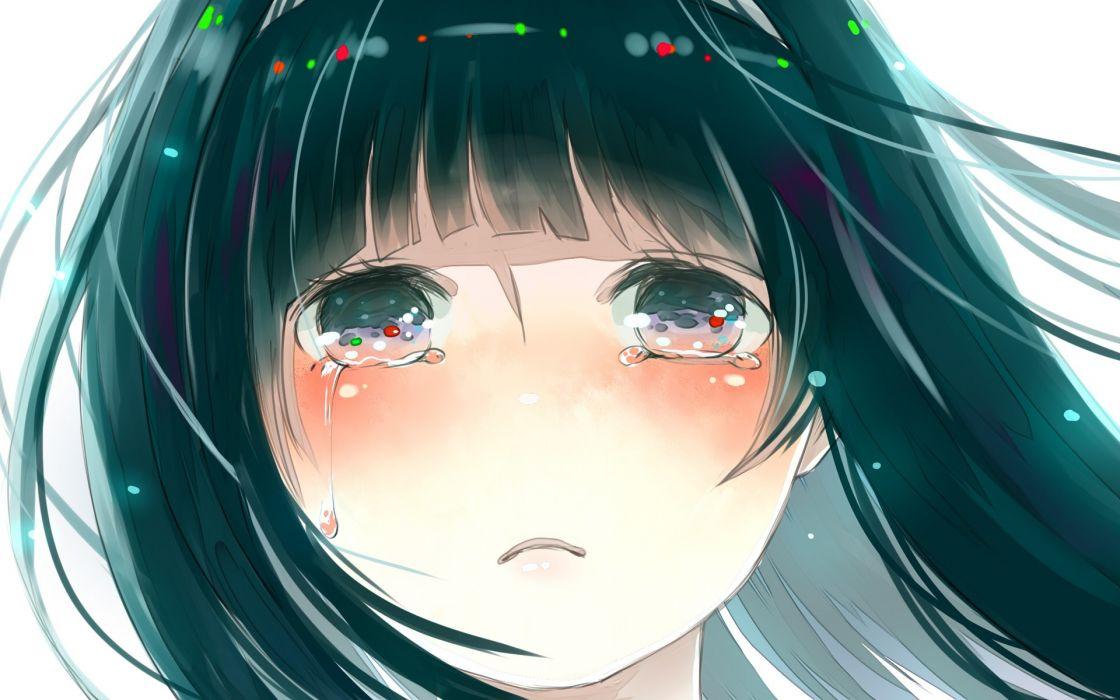 close-up white tears long hair green eyes green hair crying anime girls faces Hyouka Chitanda Eru wallpaper