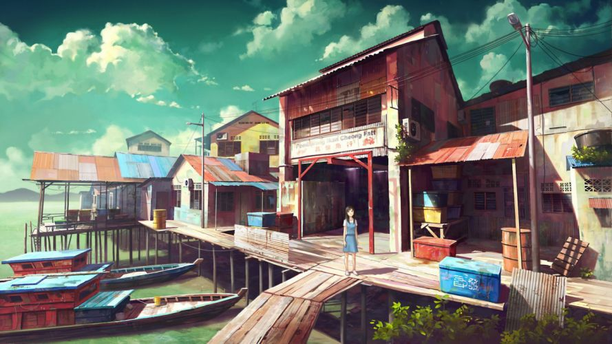 towns Asia artwork wallpaper