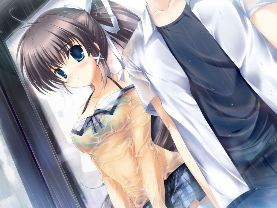 women demons bra wet blush anime girls Mikeou darjeeling wallpaper