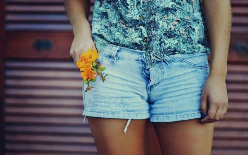 women jeans flowers shorts wallpaper