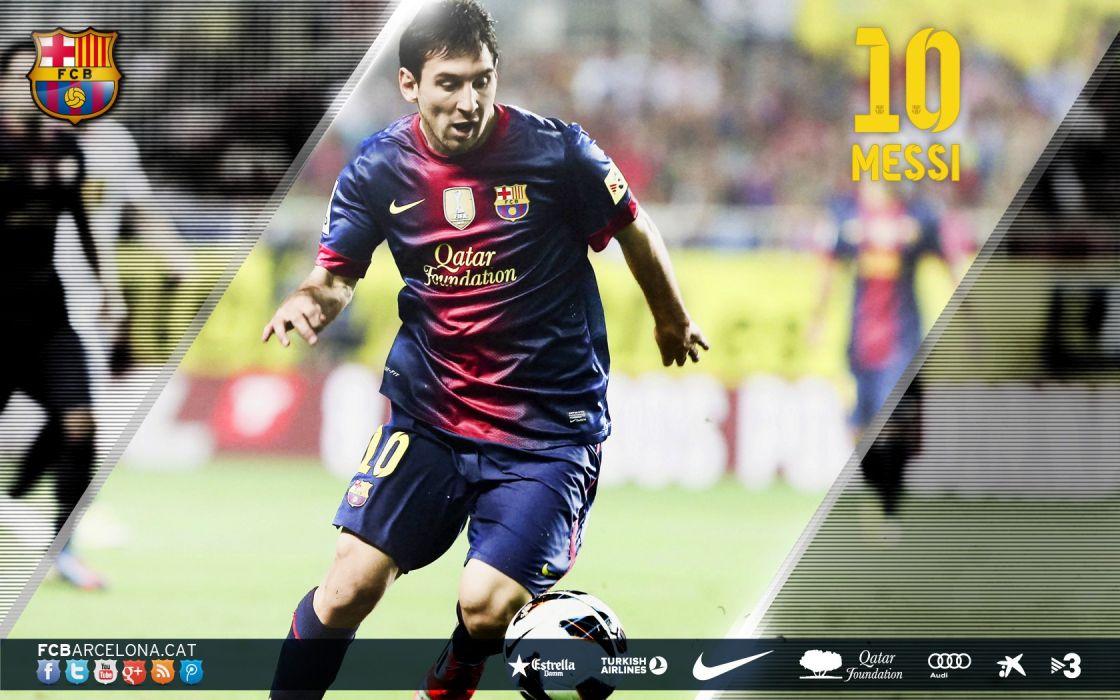 sports FC Barcelona football teams Messi wallpaper