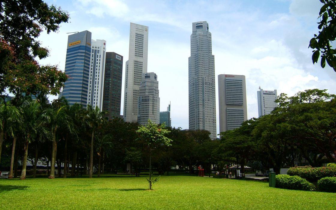 buildings Singapore parks wallpaper