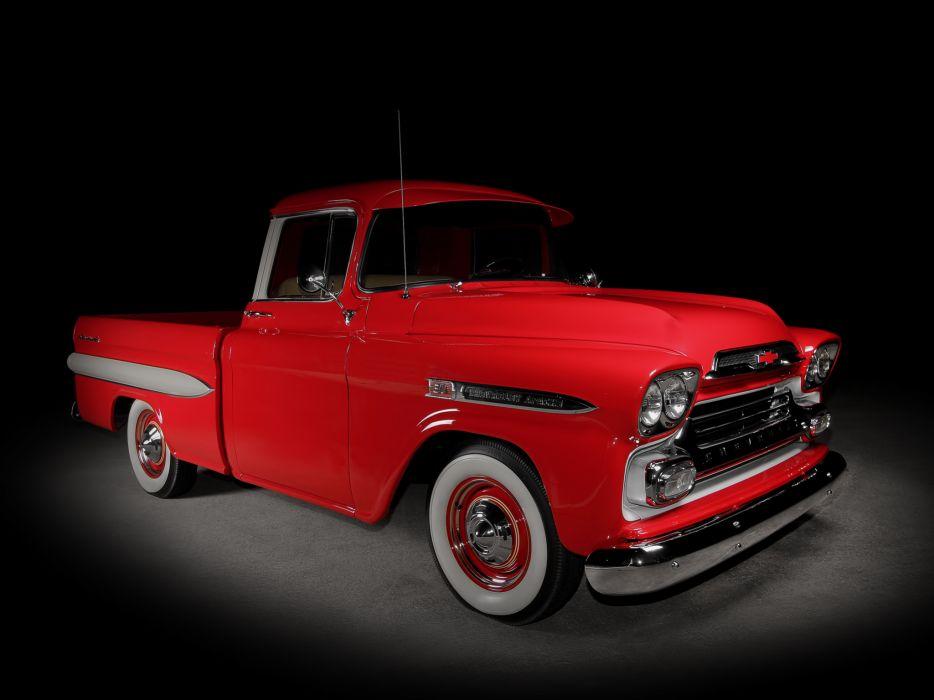1959 Chevrolet Apache 3-1 Fleetside Pickup Truck (3A-3134) retro      h wallpaper
