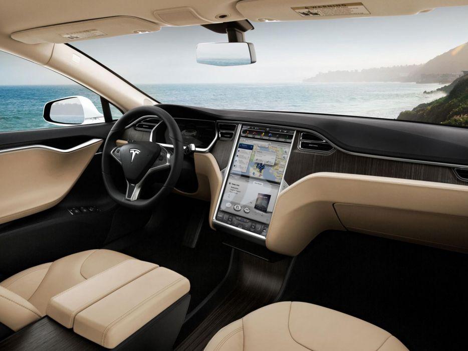 2013 Tesla Model S supercar interior      g wallpaper