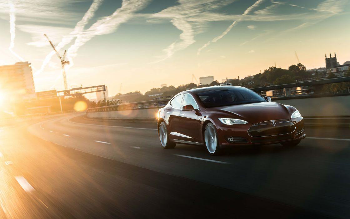 2014 Tesla Model S supercar d wallpaper