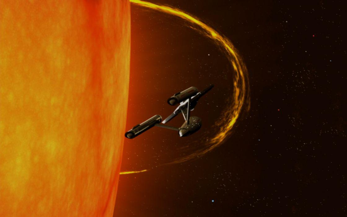 STAR TREK sci-fi action adventure television spaceship sun fire       g wallpaper