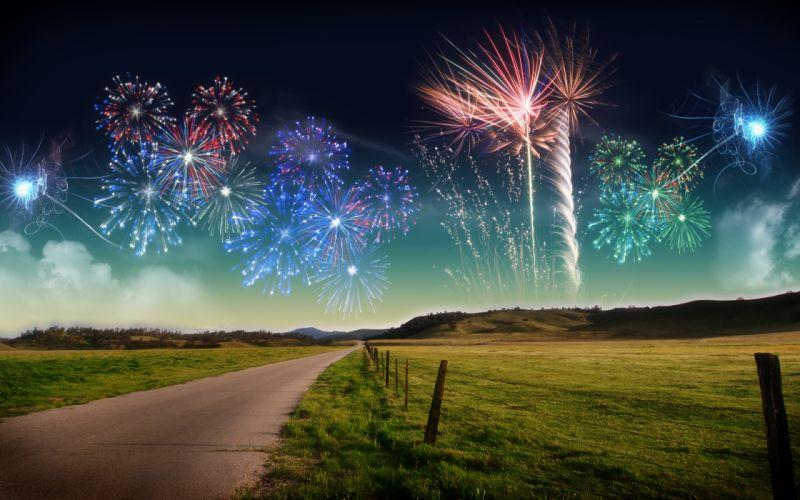 nature new year landscape fireworks ultrahd 4k wallpaper wallpaper