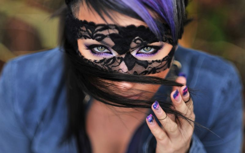 brunettes women outdoors masks faces wallpaper