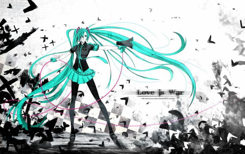 abstract Vocaloid gloves Hatsune Miku text tie skirts long hair belts shoes Love is War pantyhose twintails checkered shirts aqua eyes aqua hair anime girls megaphones hair in face bangs wallpaper