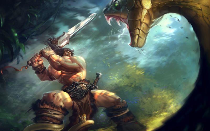 jungle fight snakes fantasy art Conan the Barbarian swords wallpaper