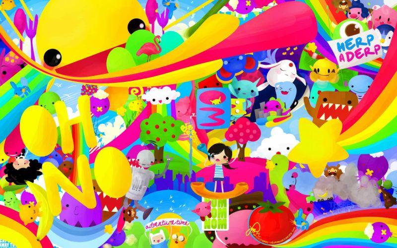 Pokemon domo rainbows Adventure Time colors wallpaper