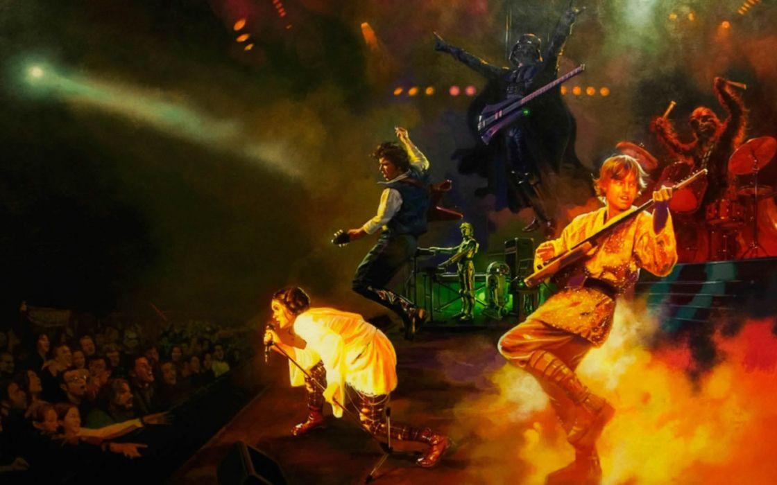 Star Wars C3PO Darth Vader R2D2 Luke Skywalker Chewbacca guitars Leia Organa concert wallpaper