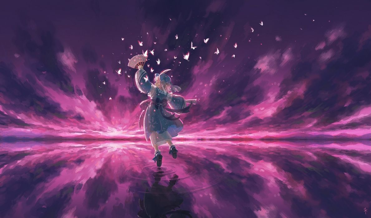 water video games clouds Touhou dress socks pink hair short hair bows pink eyes veil Saigyouji Yuyuko  blue dress skyscapes reflections hats Japanese clothes anime girls spread arms looking back bangs wavy hair butterflies skies white socks fans wallpaper