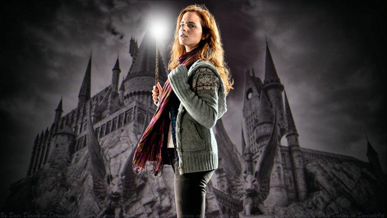 brunettes women Emma Watson Hermione Granger cardigan Hogwarts wallpaper