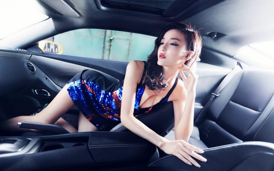 dress cleavage celebrity Asians inside car wallpaper