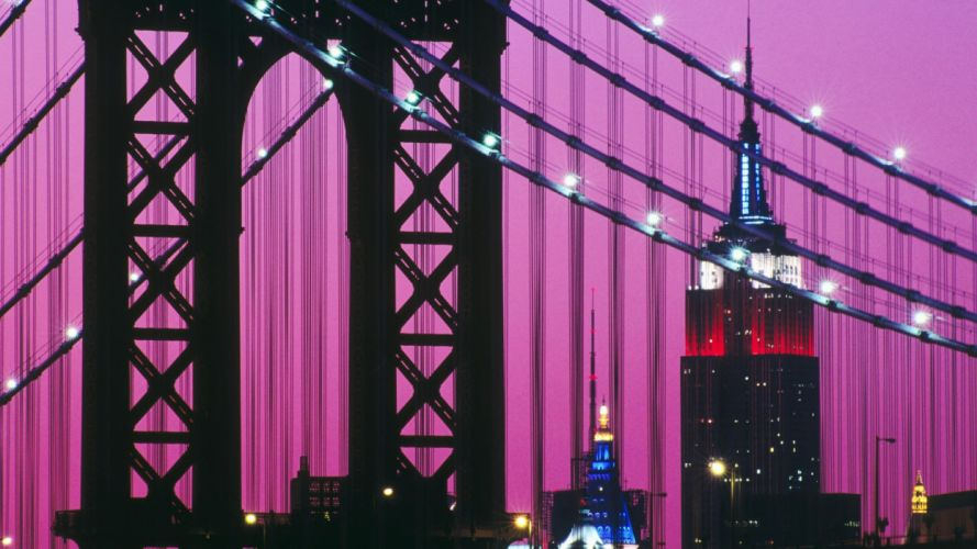 night bridges Manhattan Empire State Building wallpaper