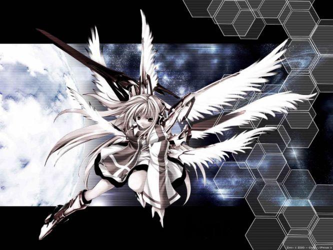wings skirts anime girls swords wallpaper
