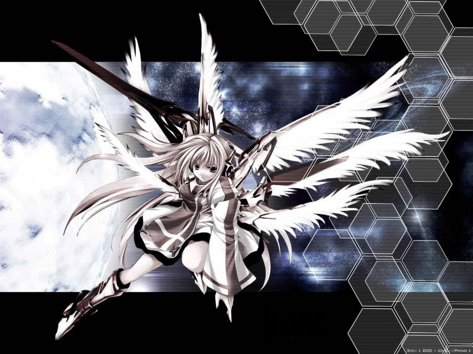 wings skirts anime girls swords wallpaper