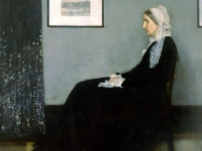 paintings Whistler's Mother James Abbott McNeill Whistler wallpaper