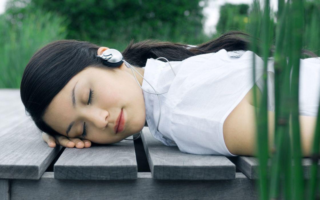 headphones women nature outdoors wallpaper