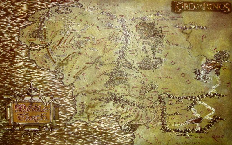 The Lord of the Rings maps Middle-earth wallpaper
