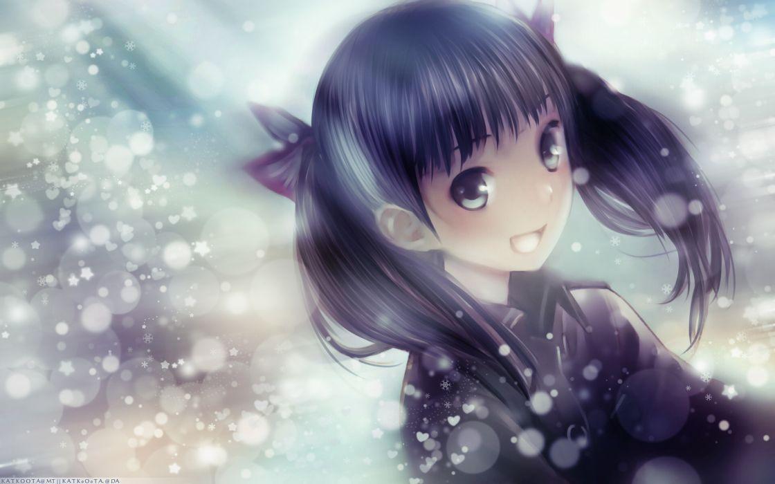 snow long hair twintails Sora No Woto smiling bows open mouth gray eyes Kishida Mel faces hair ornaments black hair Suminoya Kureha wallpaper