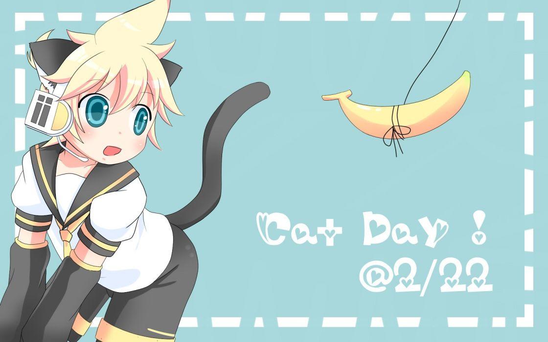 Vocaloid nekomimi Kagamine Len animal ears wallpaper