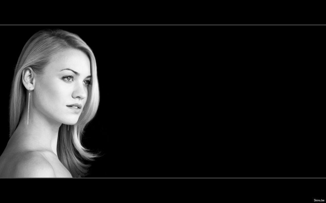 blondes women actress Yvonne Strahovski monochrome black background wallpaper