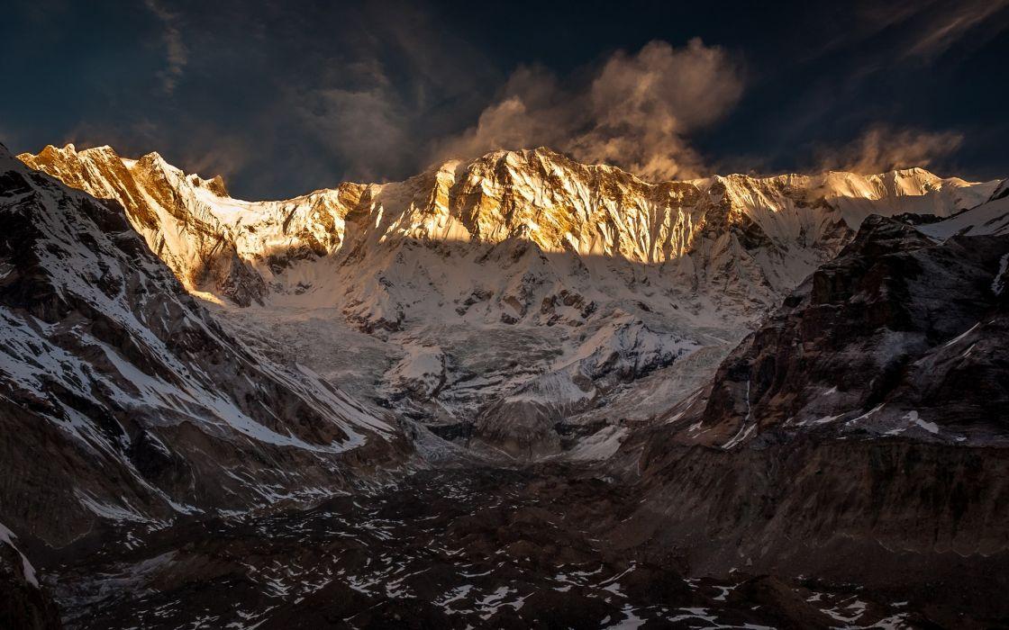 sunrise mountains landscapes nature snow shadows Nepal Annapurna Himalayas wallpaper