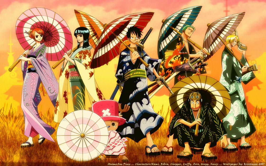 One Piece (anime) Nico Robin kimono Roronoa Zoro chopper Japanese clothes Monkey D Luffy Nami (One Piece) Sanji (One Piece) wallpaper