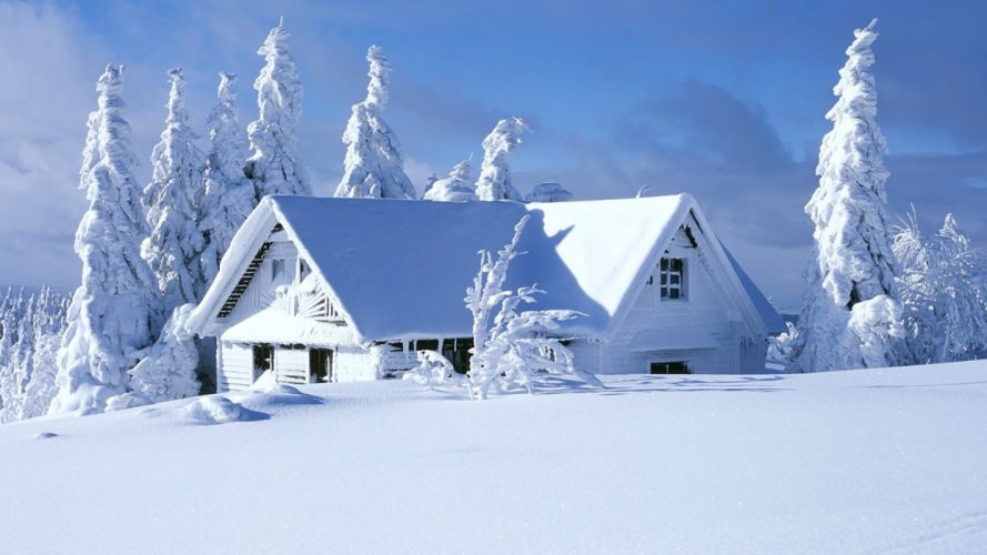 nature snow forests houses house wallpaper