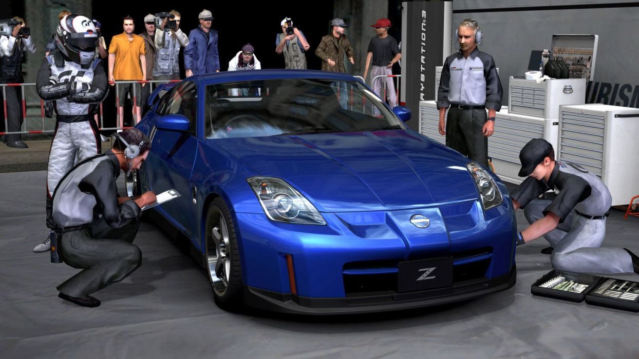 video games cars Nissan 350Z Gran Turismo 5 Playstation 3 pit-crew wallpaper