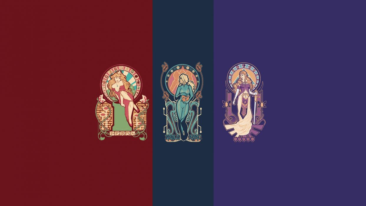 Metroid Nintendo Samus Aran Super Mario The Legend of Zelda Princess Peach Princess Zelda Art Nouveau wallpaper
