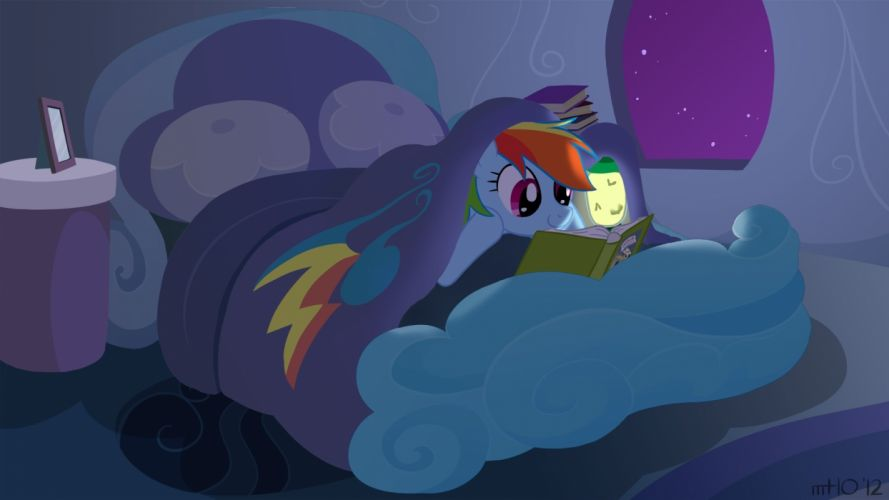 night reading ponies Rainbow Dash empty My Little Pony: Friendship is Magic wallpaper