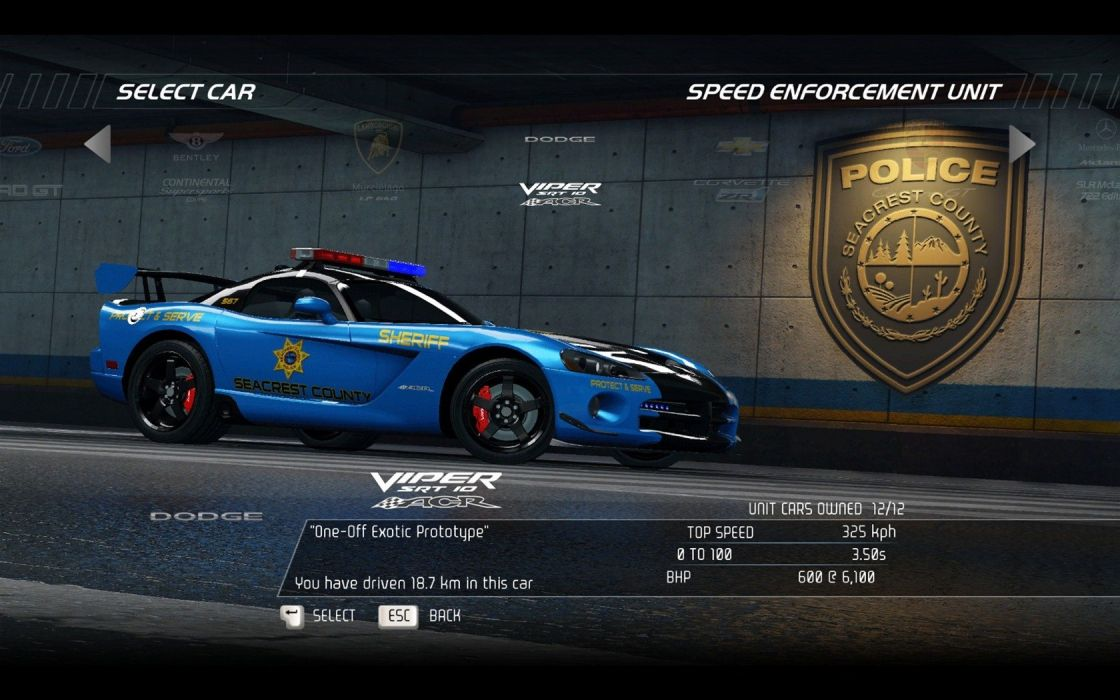 video games cars police Dodge Viper Need for Speed Hot Pursuit ACR SRT10 pc games wallpaper